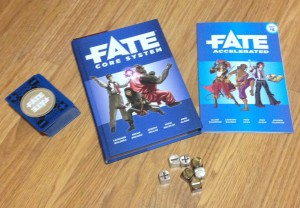 The Fate RPG is available as a core ruleset and as an Accelerated Edition. To help players use the system there are dice and a special Fate deck.